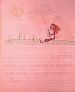 """Dear Lisa. I miss you. Please come back. I'm sorry when my daddy was mean. You are my best friend."""